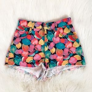 Zara Colorful Floral High Waisted Shorts